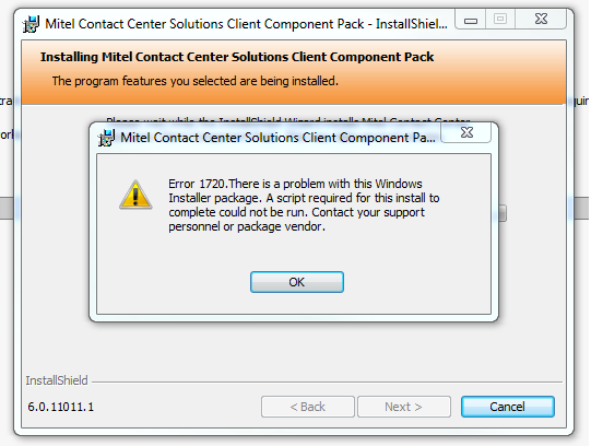 Error 1720 when installing the Client Component Pack