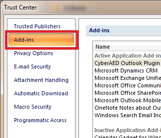 how to disable add ins in outlook 2007