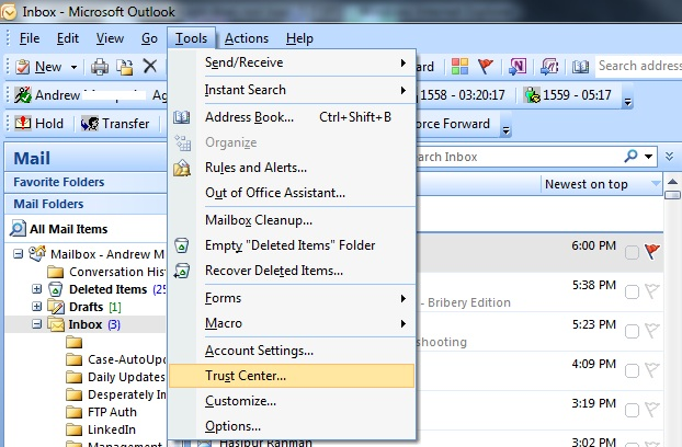 how to enable outlook search within ost